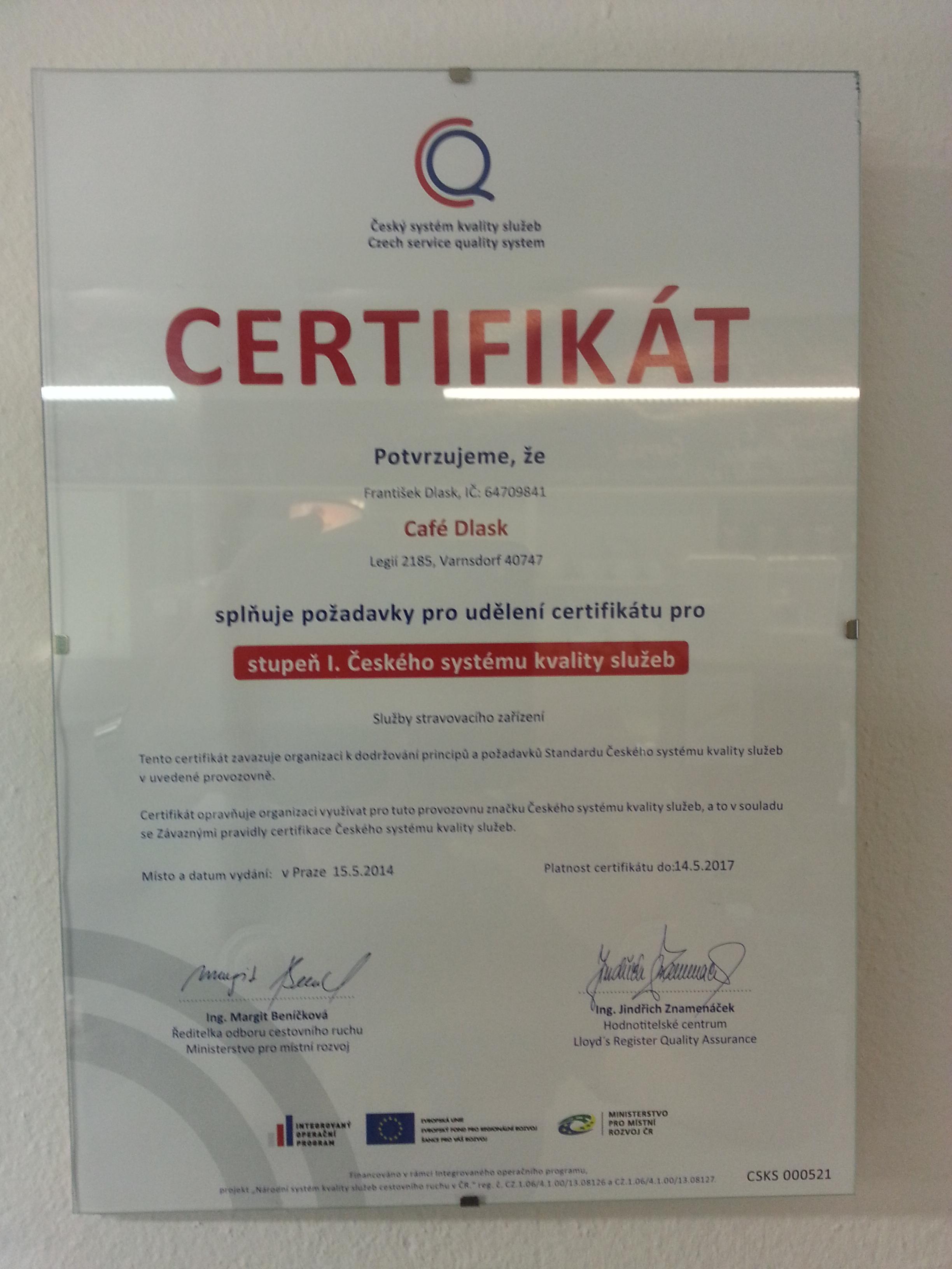 Certifikát ČSKS